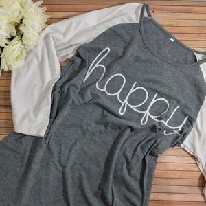 """Tops - """"Happy"""" Raglan Graphic Tee"""